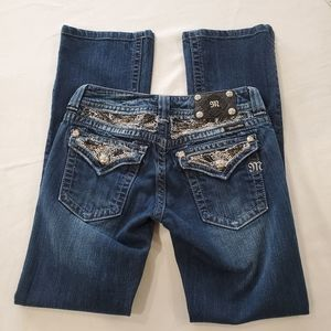 MISS ME Jeans back flap pockets with rhinestones